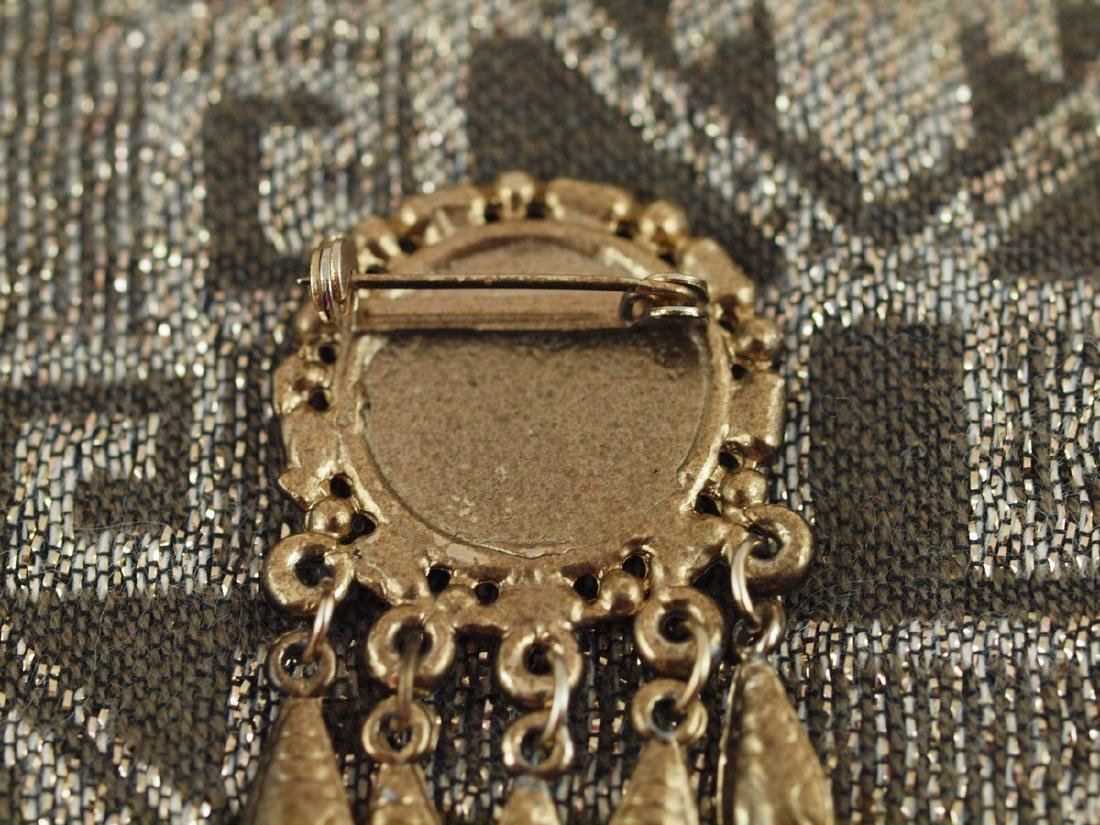Vintage Brass Brooch Richly Decorated, 1920s - 5