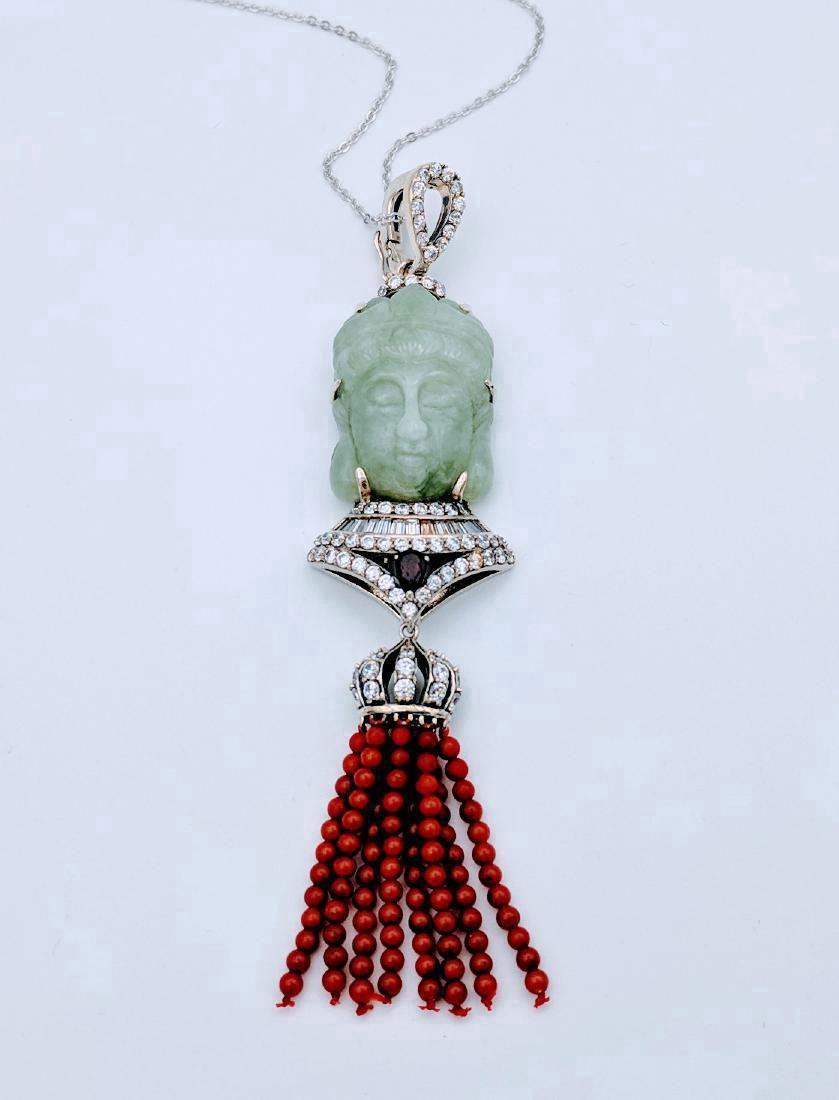 Sterling Silver Jade Garnet Jasper Buddha Necklace