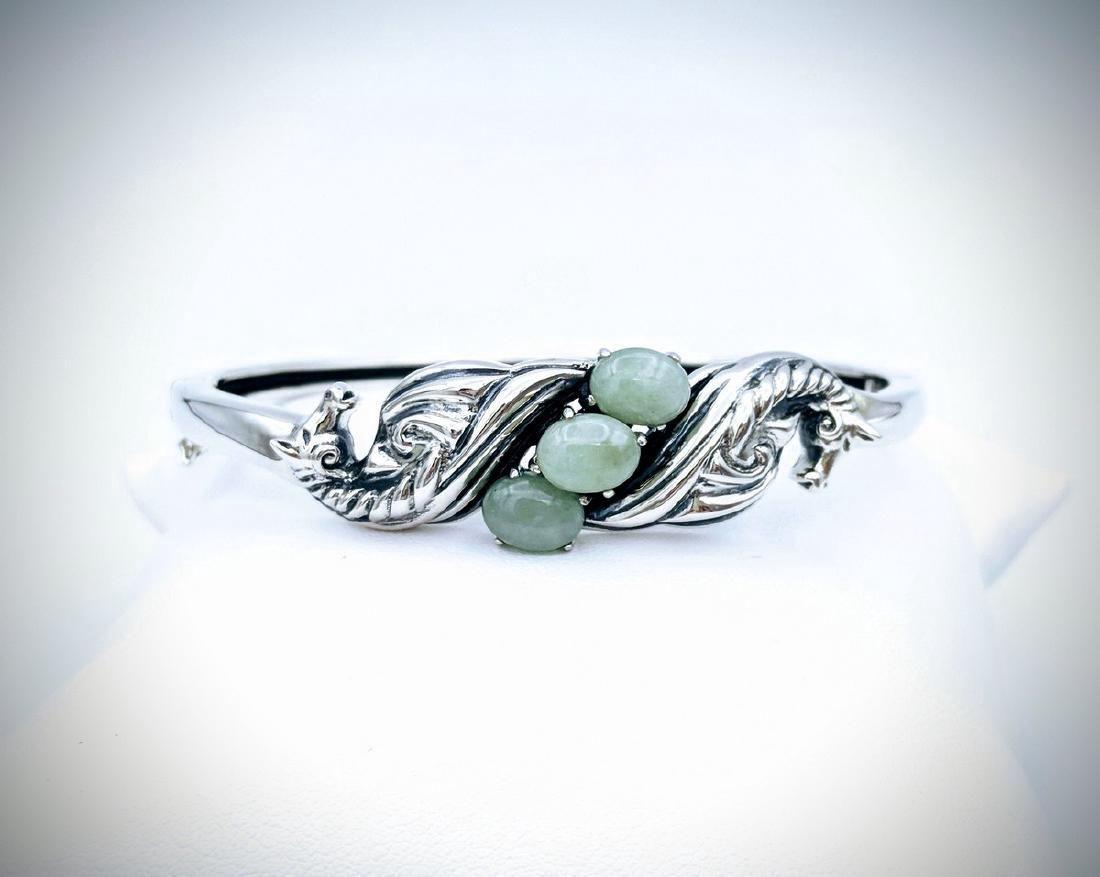 Sterling Silver Jade Figural Horse Design Bangle