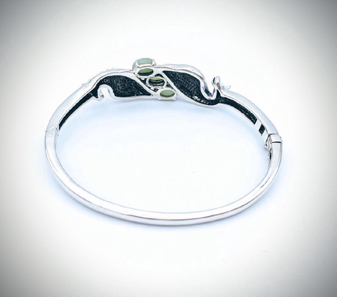 Sterling Silver Jade Figural Horse Design Bangle - 2
