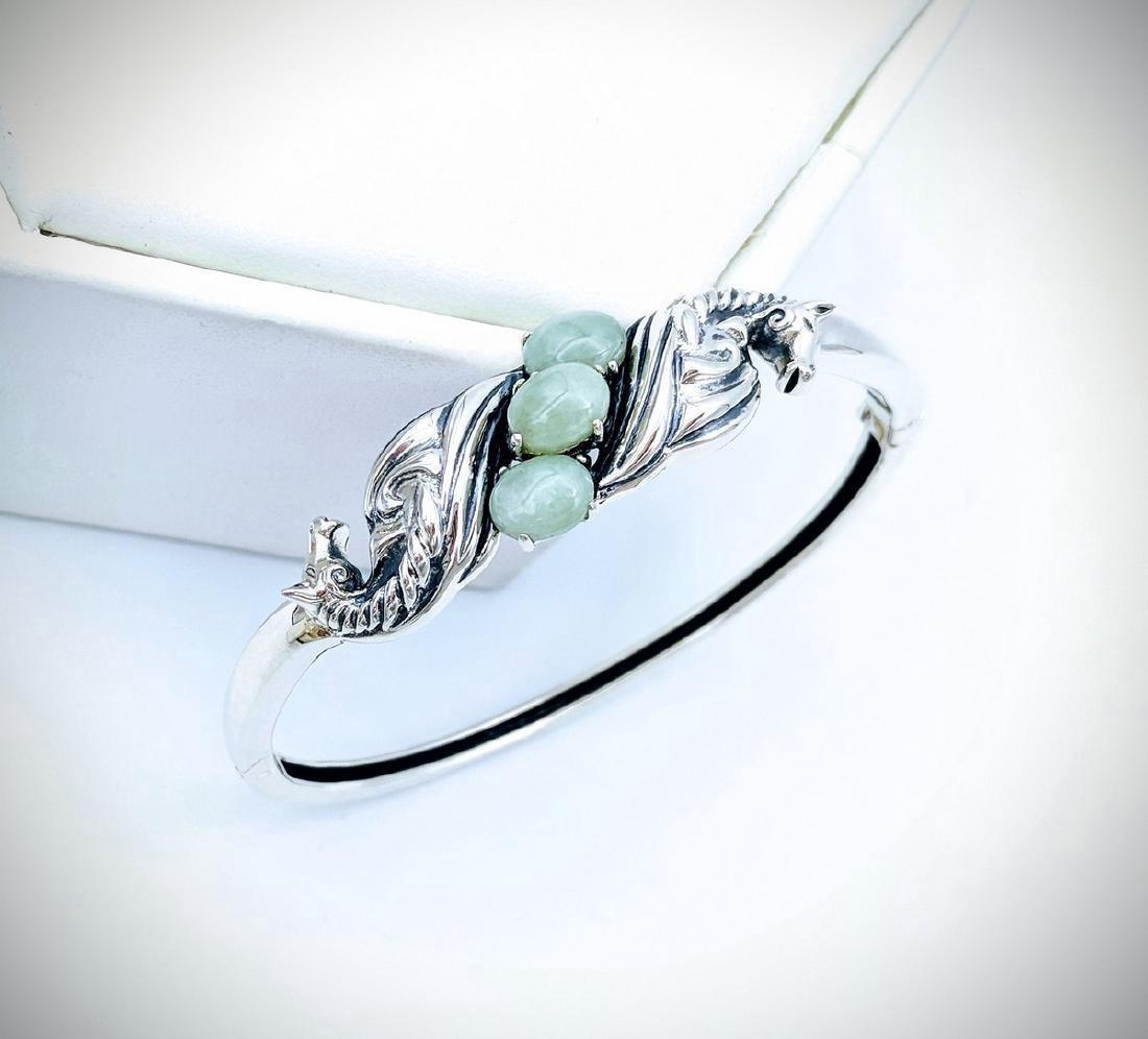 Sterling Silver Jade Figural Horse Design Bangle - 3