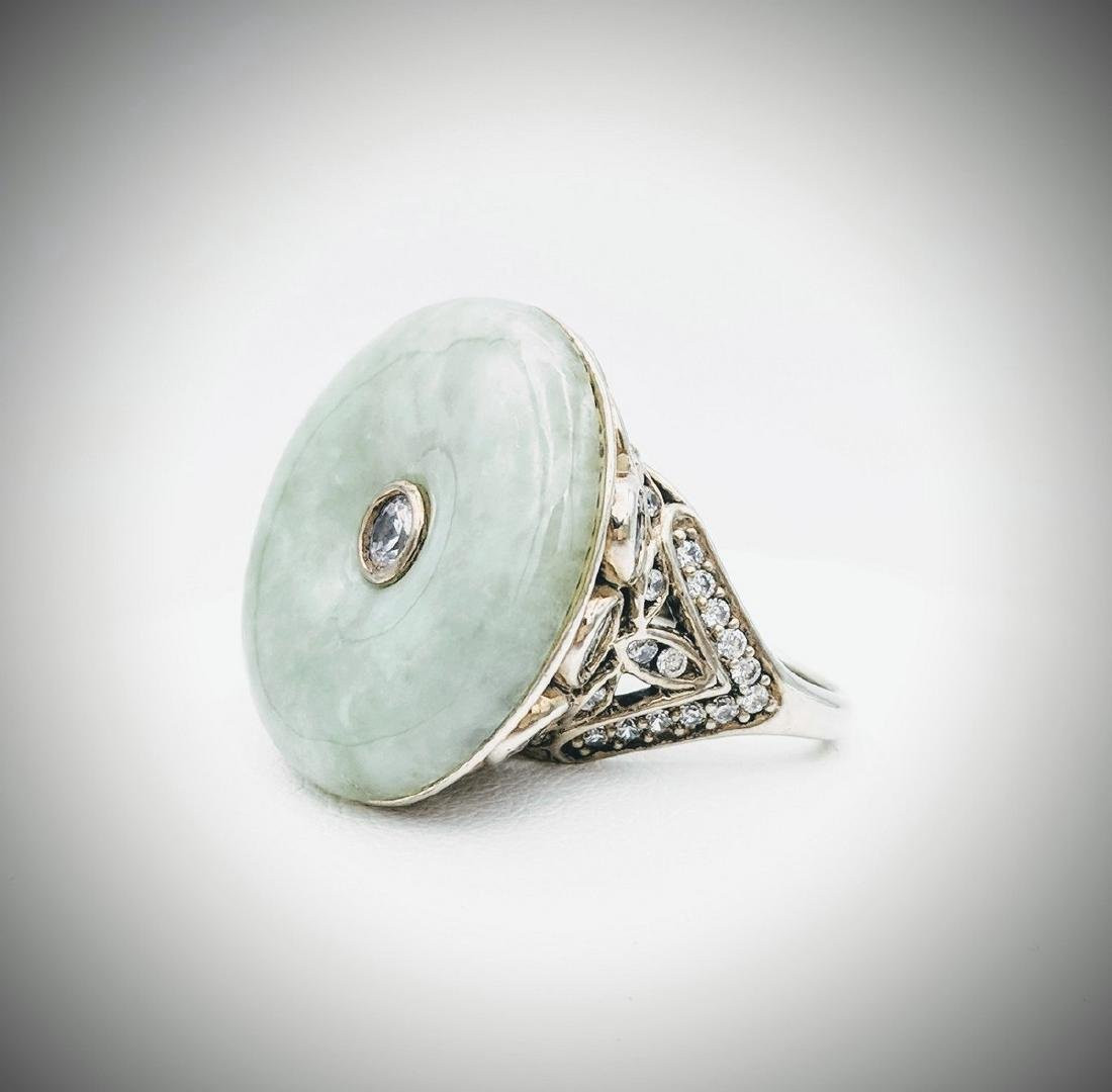 Sterling Silver Jade Ring with Cubic Zirconia