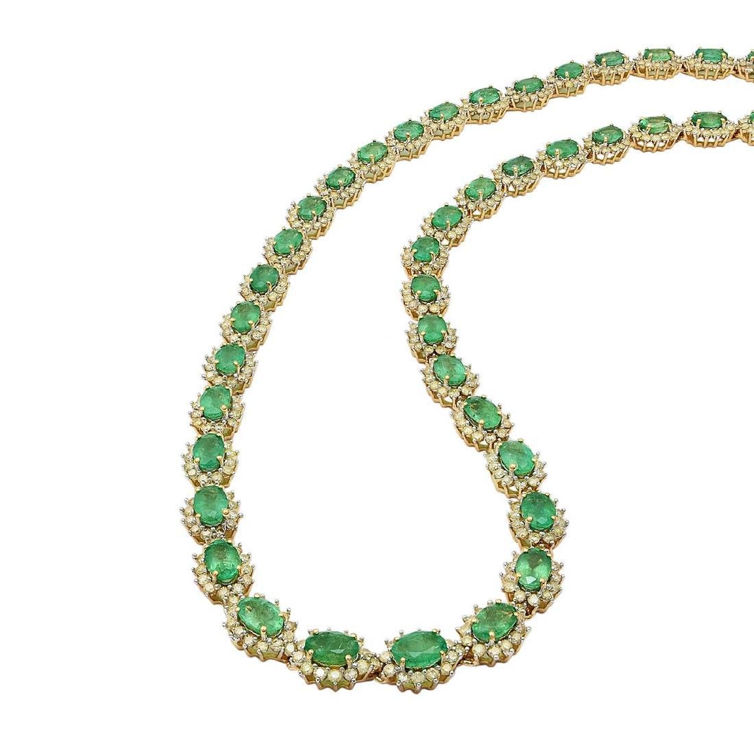 14K Yellow Gold 18.10ct Emerald 7.91ct Diamond Necklace