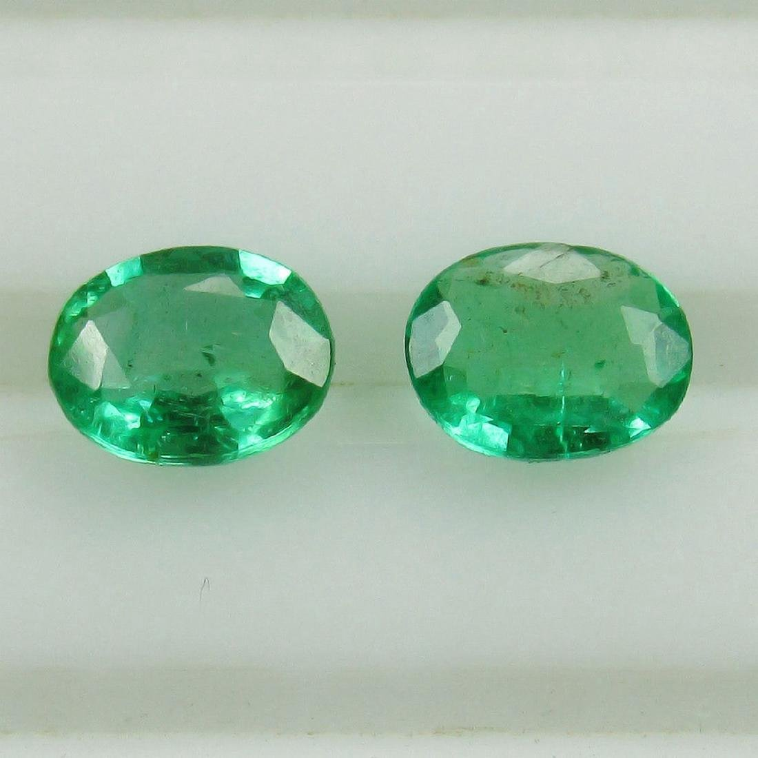 0.73 Carat Natural Loose Emerald Oval Pair