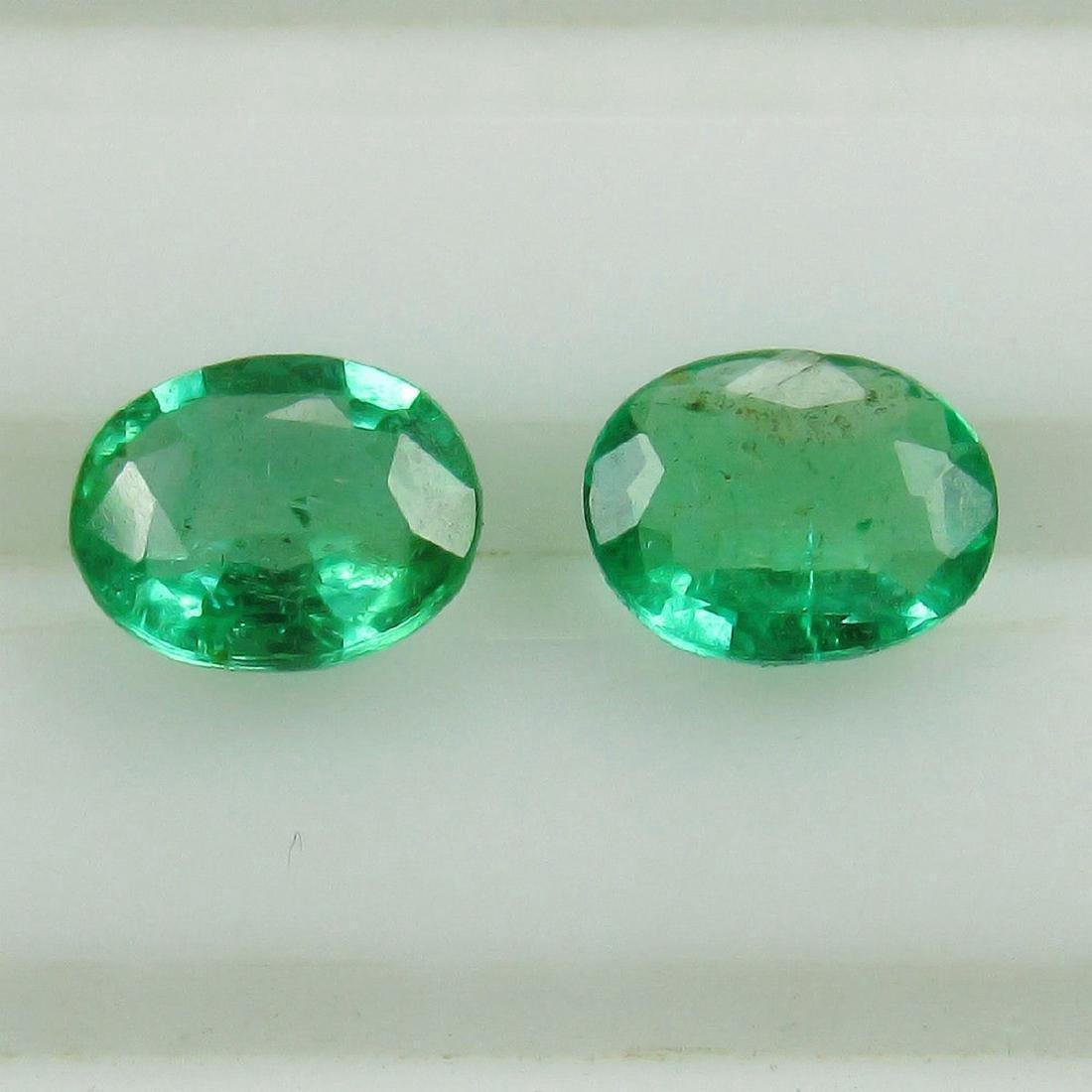 0.73 Carat Natural Loose Emerald Oval Pair