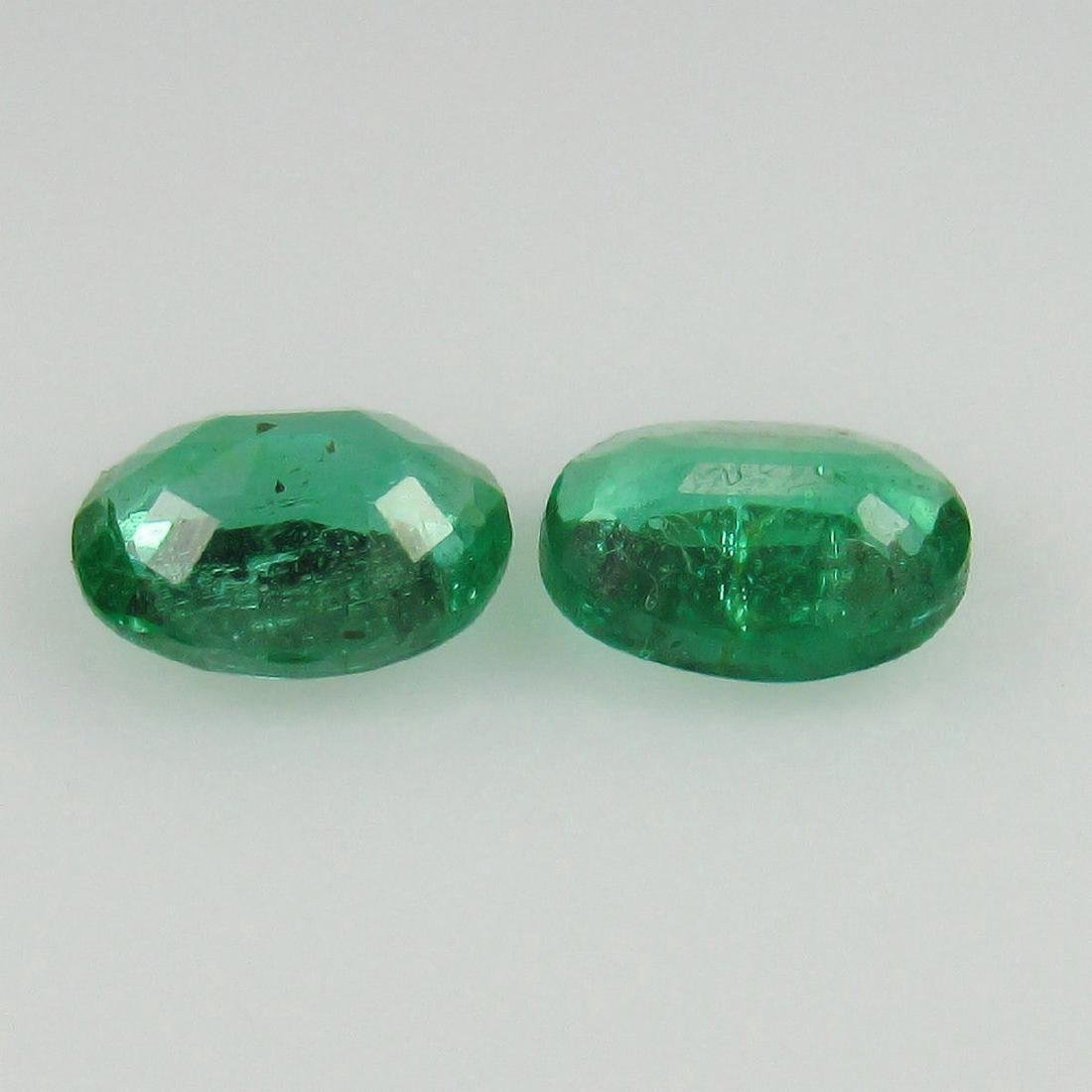 0.73 Carat Natural Loose Emerald Oval Pair - 2