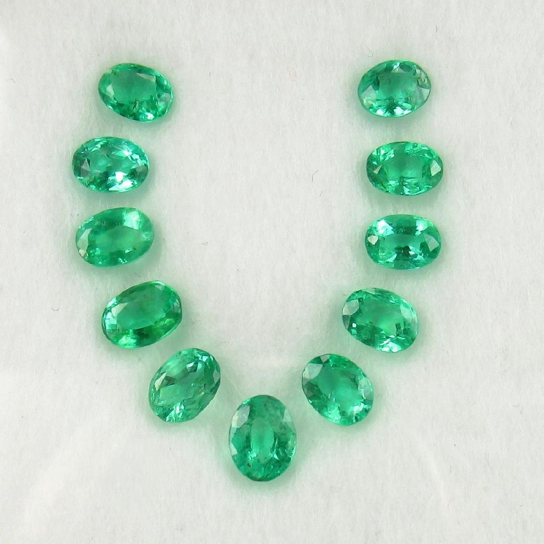 2.34 Carat Natural 11 Loose Emerald Oval Necklace Set