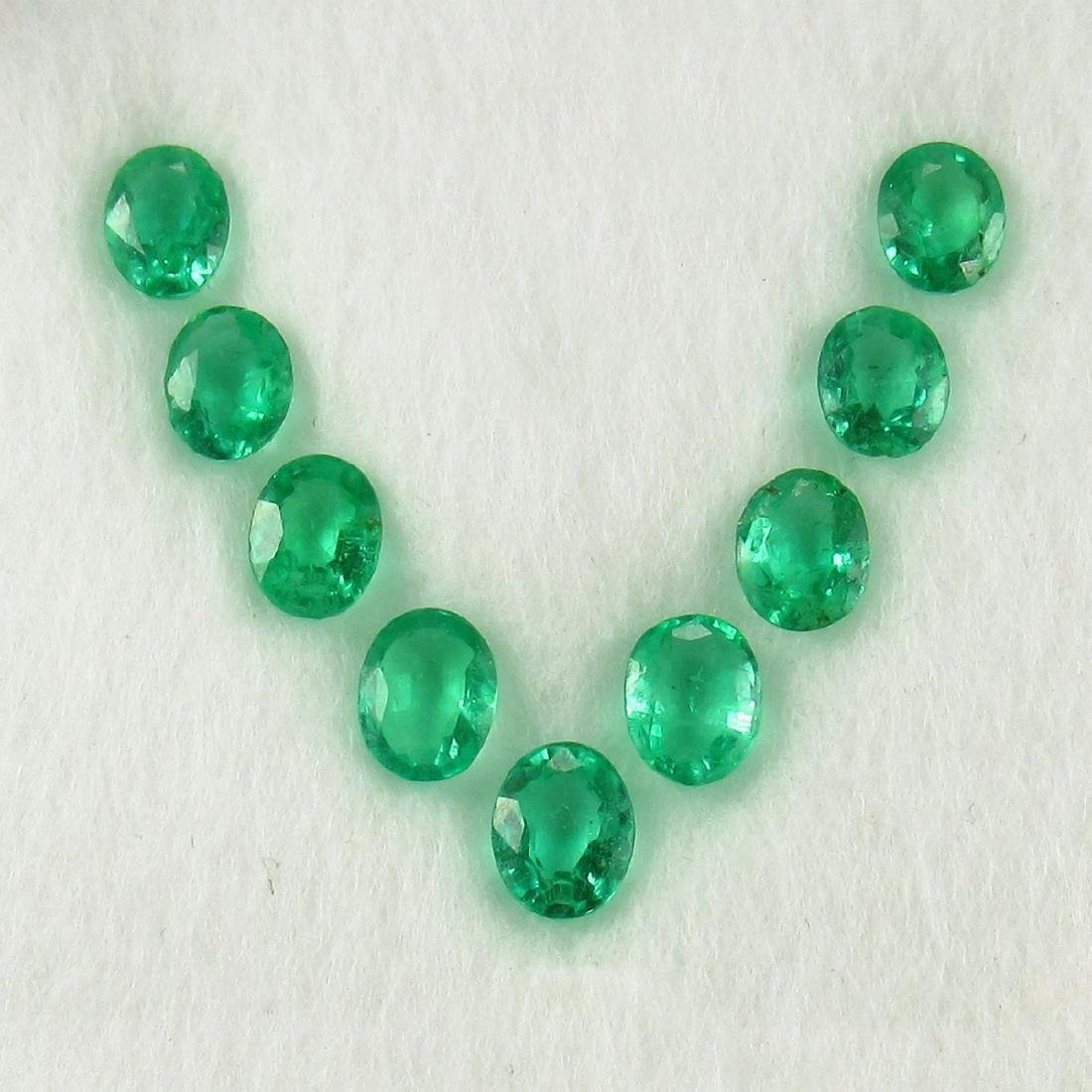 3.39 Carat Natural 7 Loose Emerald Oval Necklace Set
