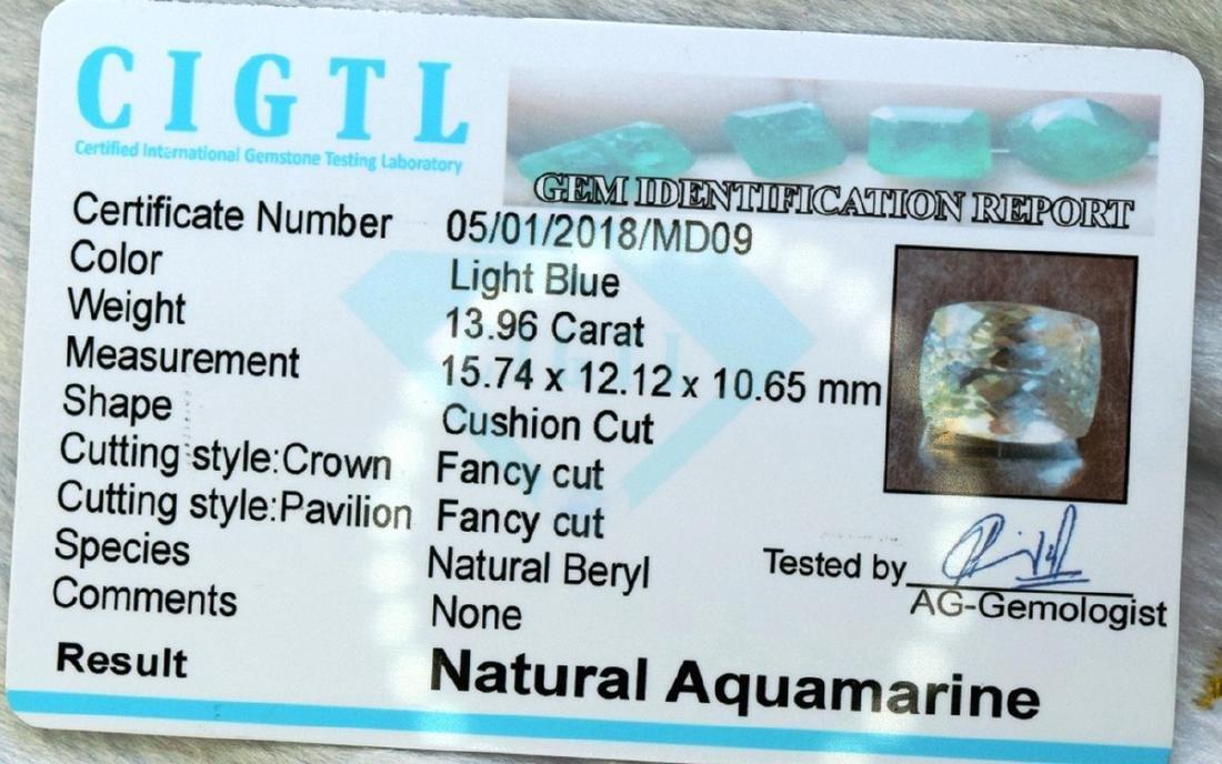 13.96 Carat Certified Natural Aquamarine Loose Gemstone - 3