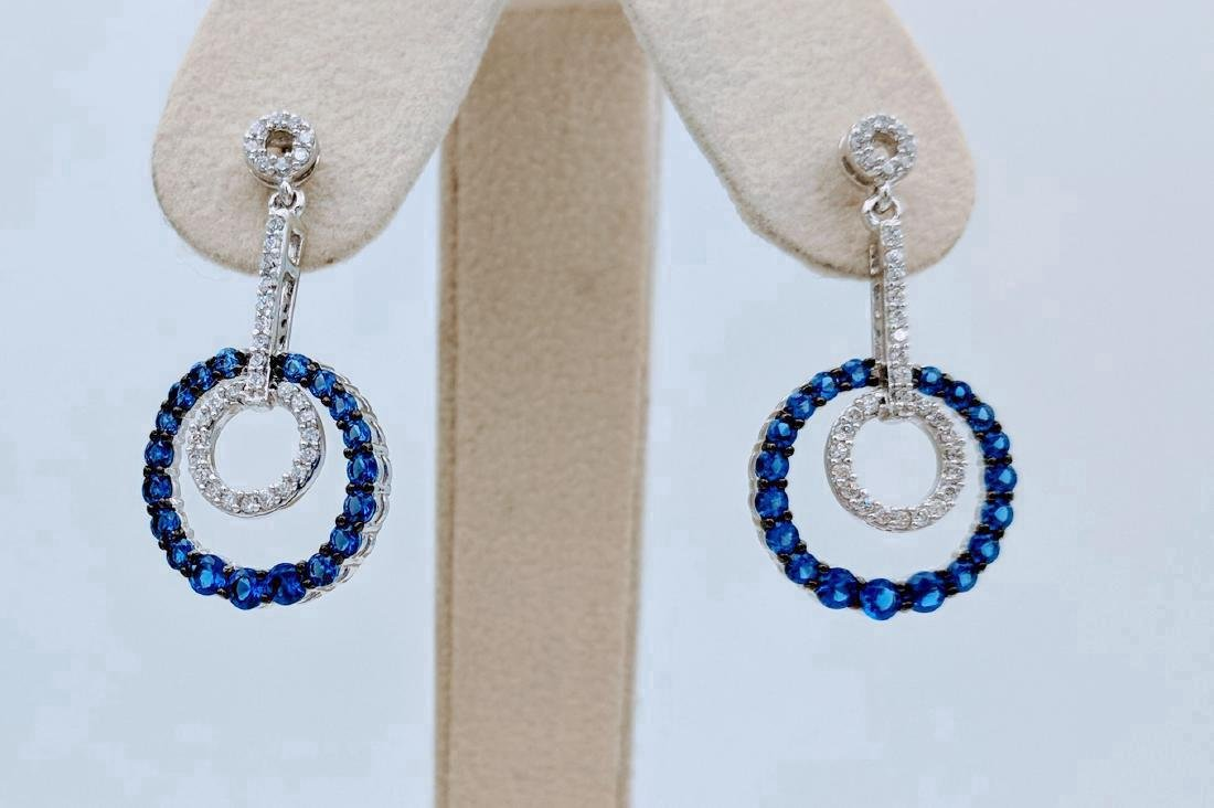 Sterling Silver Blue Sapphire CZ Dangly Hoop Earrings