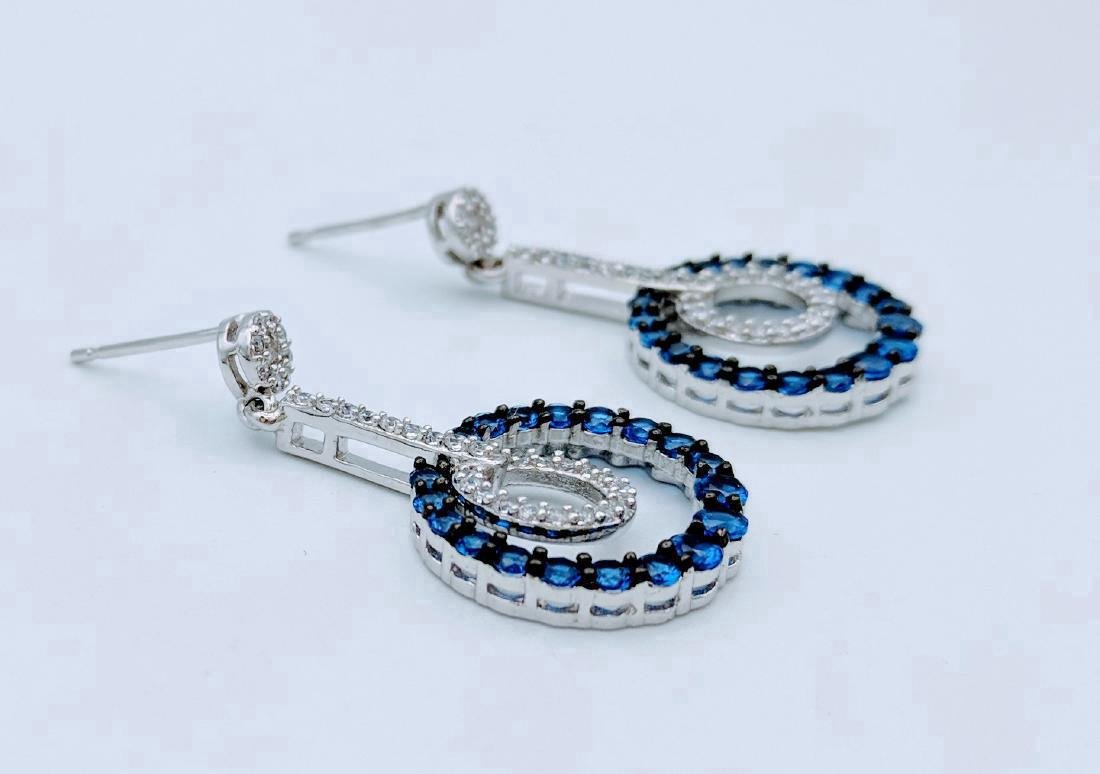 Sterling Silver Blue Sapphire CZ Dangly Hoop Earrings - 2