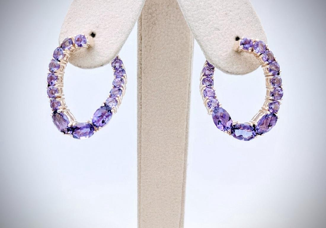 Sterling Silver Twisted Hoop Earrings with Amethyst