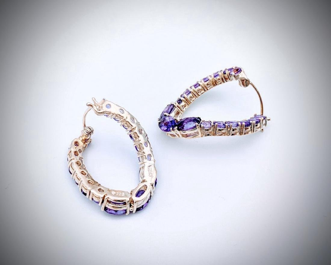 Sterling Silver Twisted Hoop Earrings with Amethyst - 2