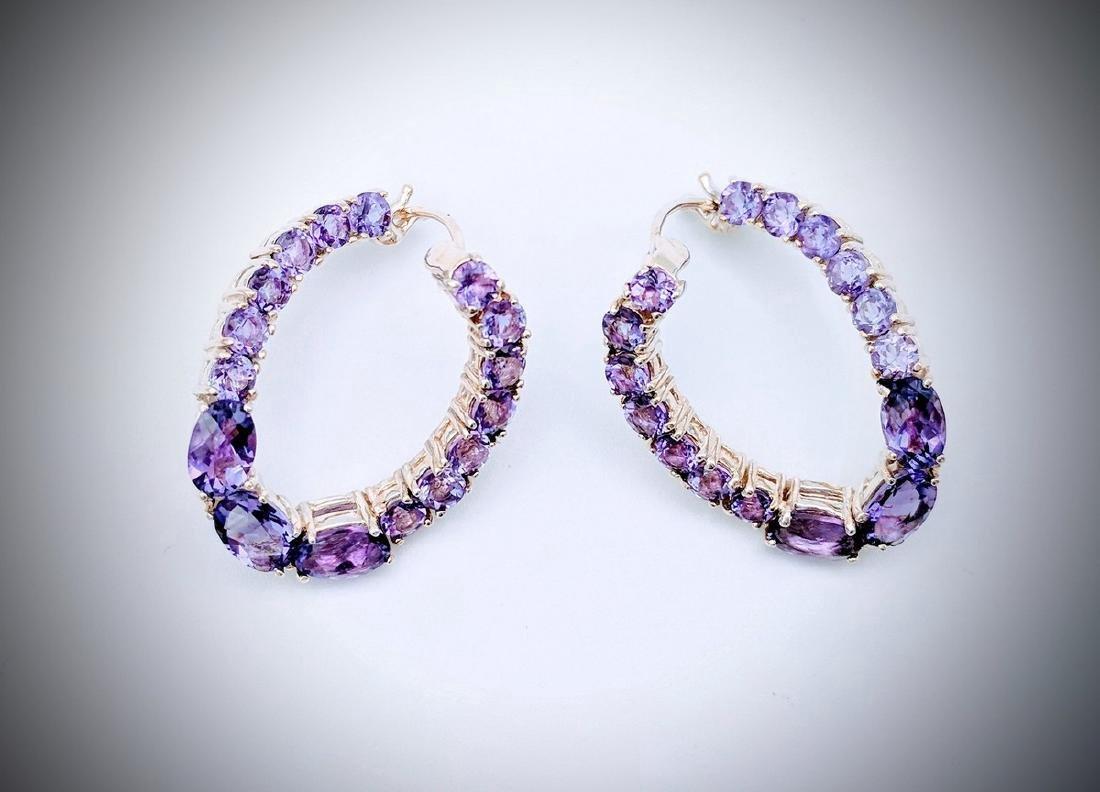 Sterling Silver Twisted Hoop Earrings with Amethyst - 3