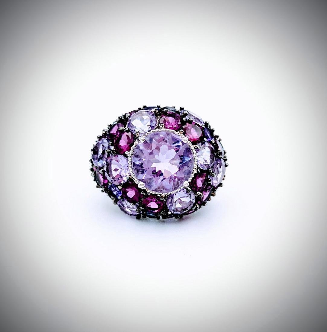 Sterling Silver Multicolored Amethyst Cluster Ring