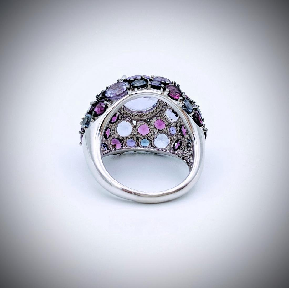 Sterling Silver Multicolored Amethyst Cluster Ring - 2