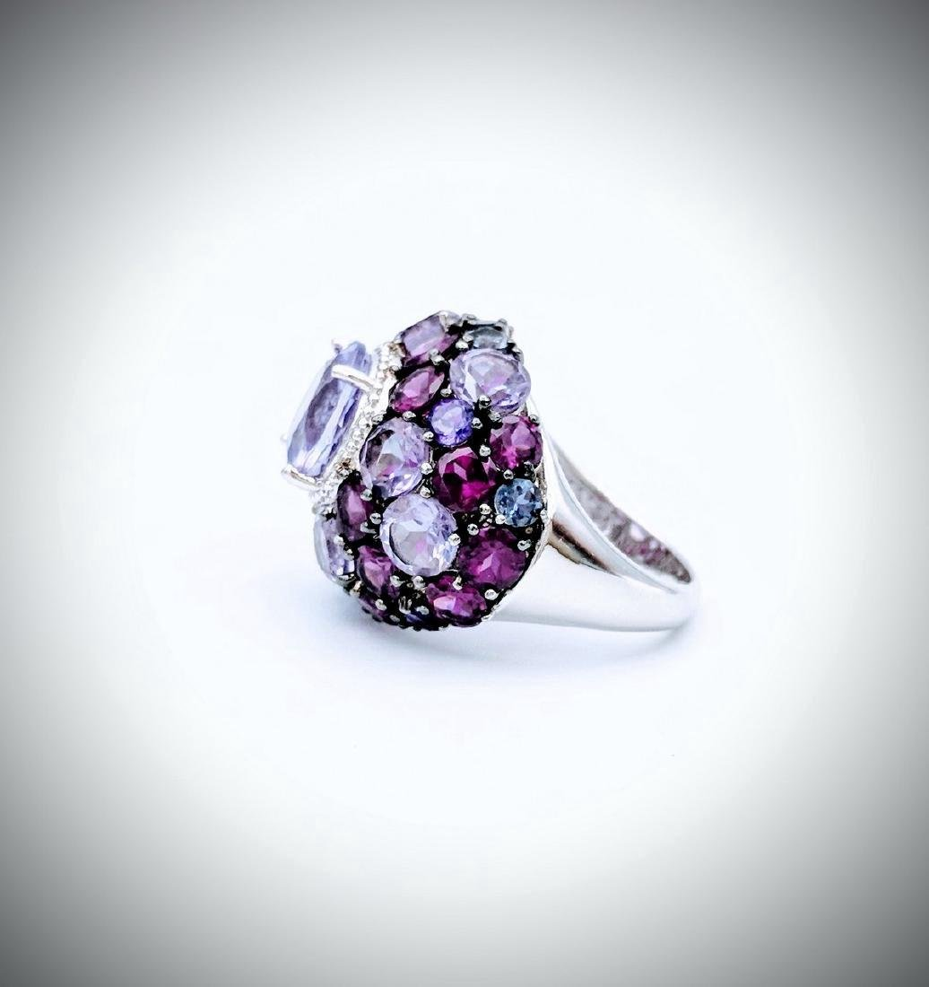 Sterling Silver Multicolored Amethyst Cluster Ring - 3