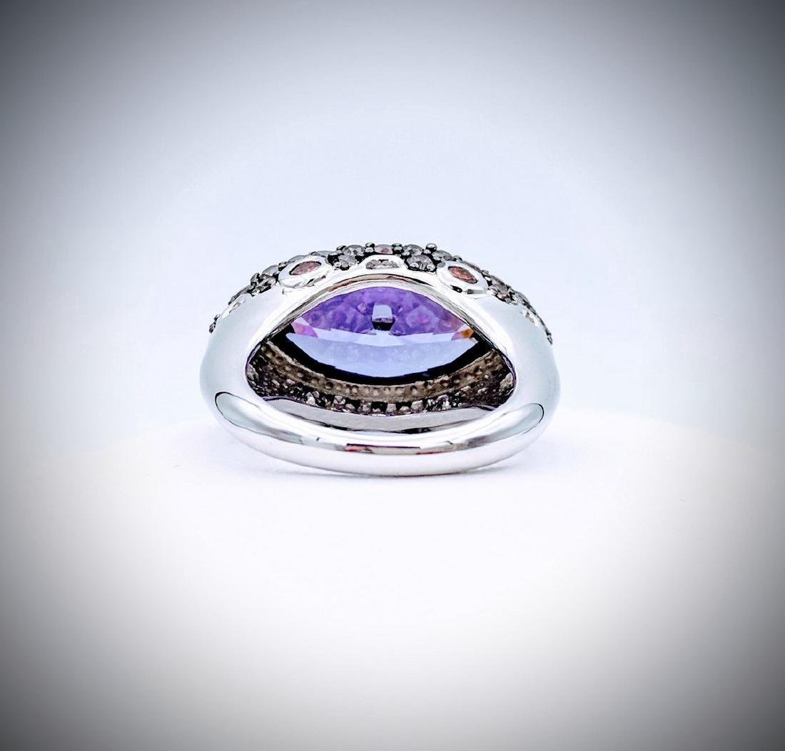 Sterling Silver Amethyst Citrine Pale Sapphire Ring - 2