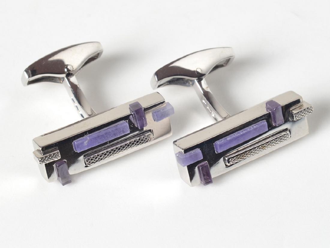 Tateossian Sterling Silver Jade Rectangular Cufflinks
