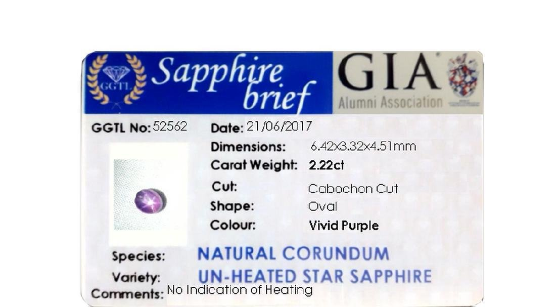 2.20 Carat Loose Untreated Purple Star Sapphire, GIA