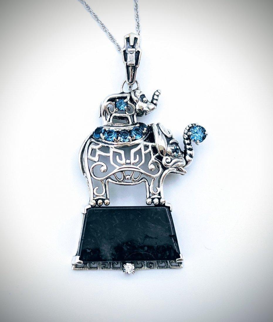 Sterling Silver Nuumite Topaz CZ Elephant Necklace