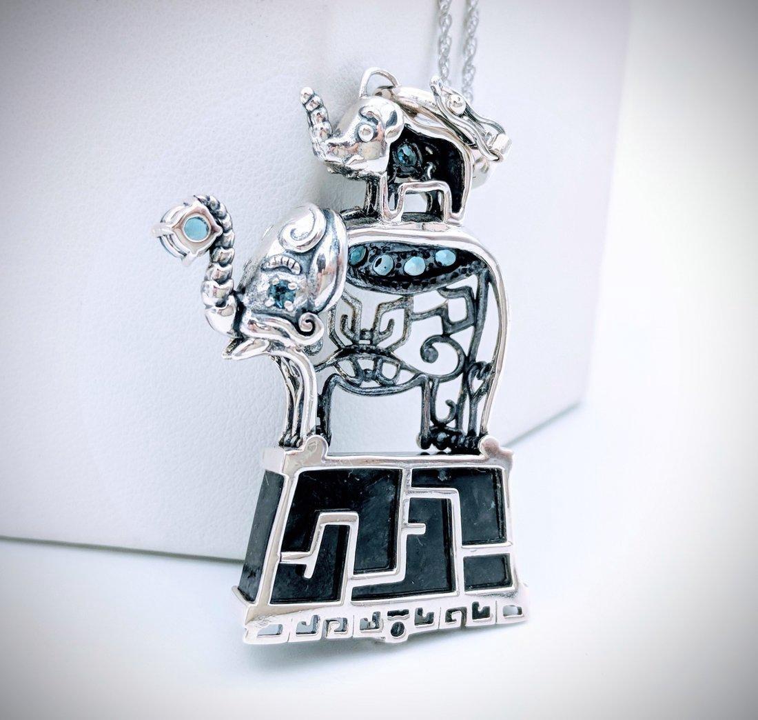 Sterling Silver Nuumite Topaz CZ Elephant Necklace - 2