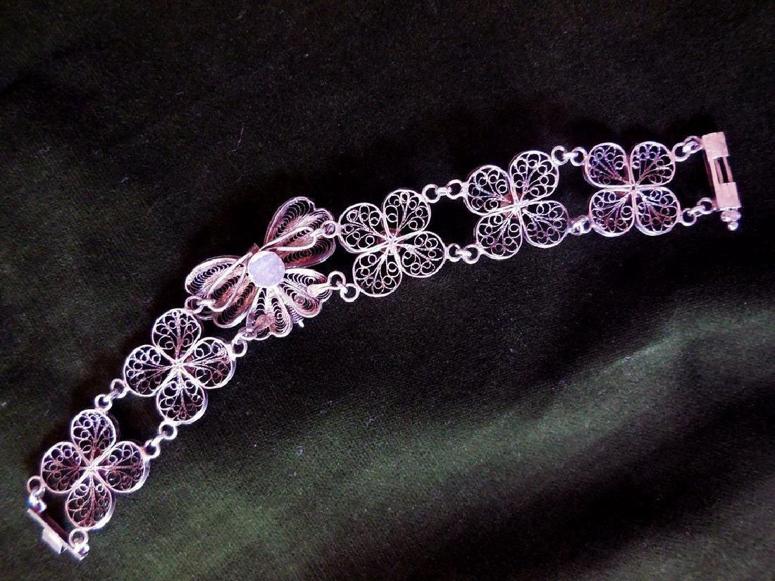 Vintage Filigree Silver Bracelet - 6