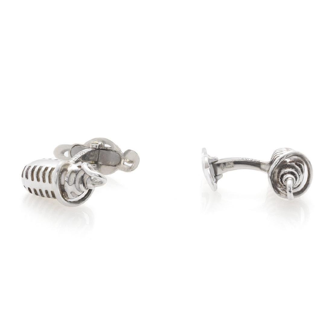 Montegrappa Microphone Sterling Silver Cufflinks - 4