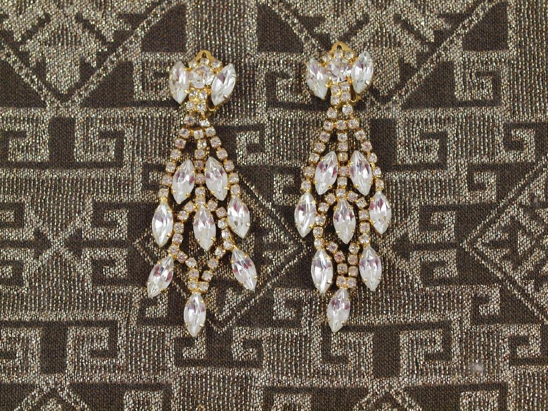 Vintage Earrings Art Deco Pearls 114 Crystals