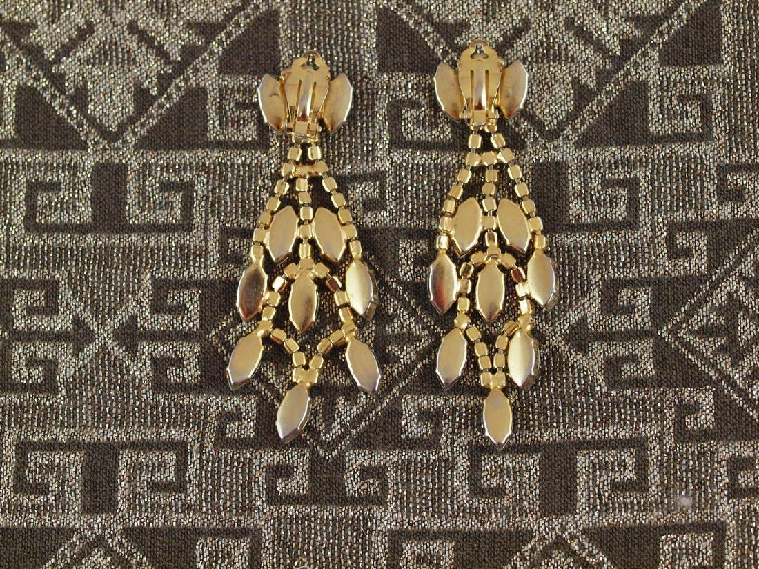 Vintage Earrings Art Deco Pearls 114 Crystals - 2