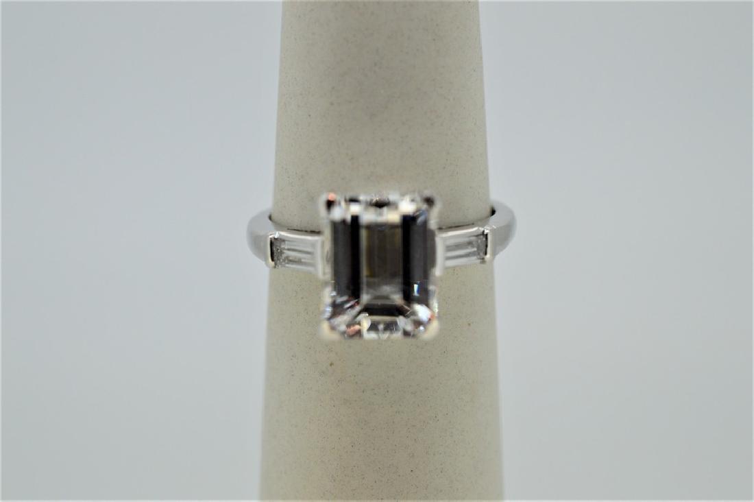 Platinum Natural White Beryl Diamond Ring, 4.37ct