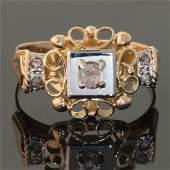 Vintage Fifties Retro 18K Gold Diamond Ring
