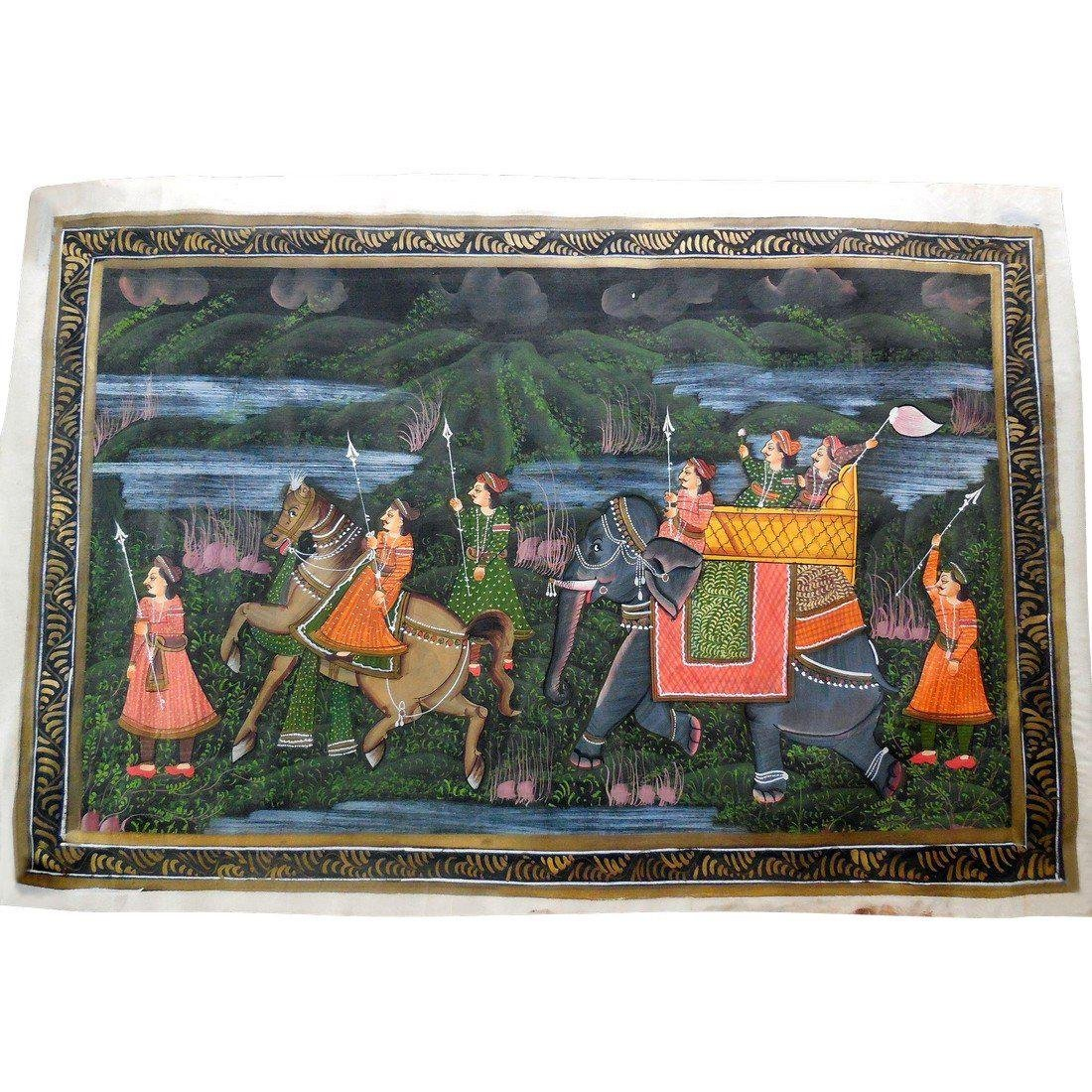 Pair of Antique Hand Painted Scenes on Silk