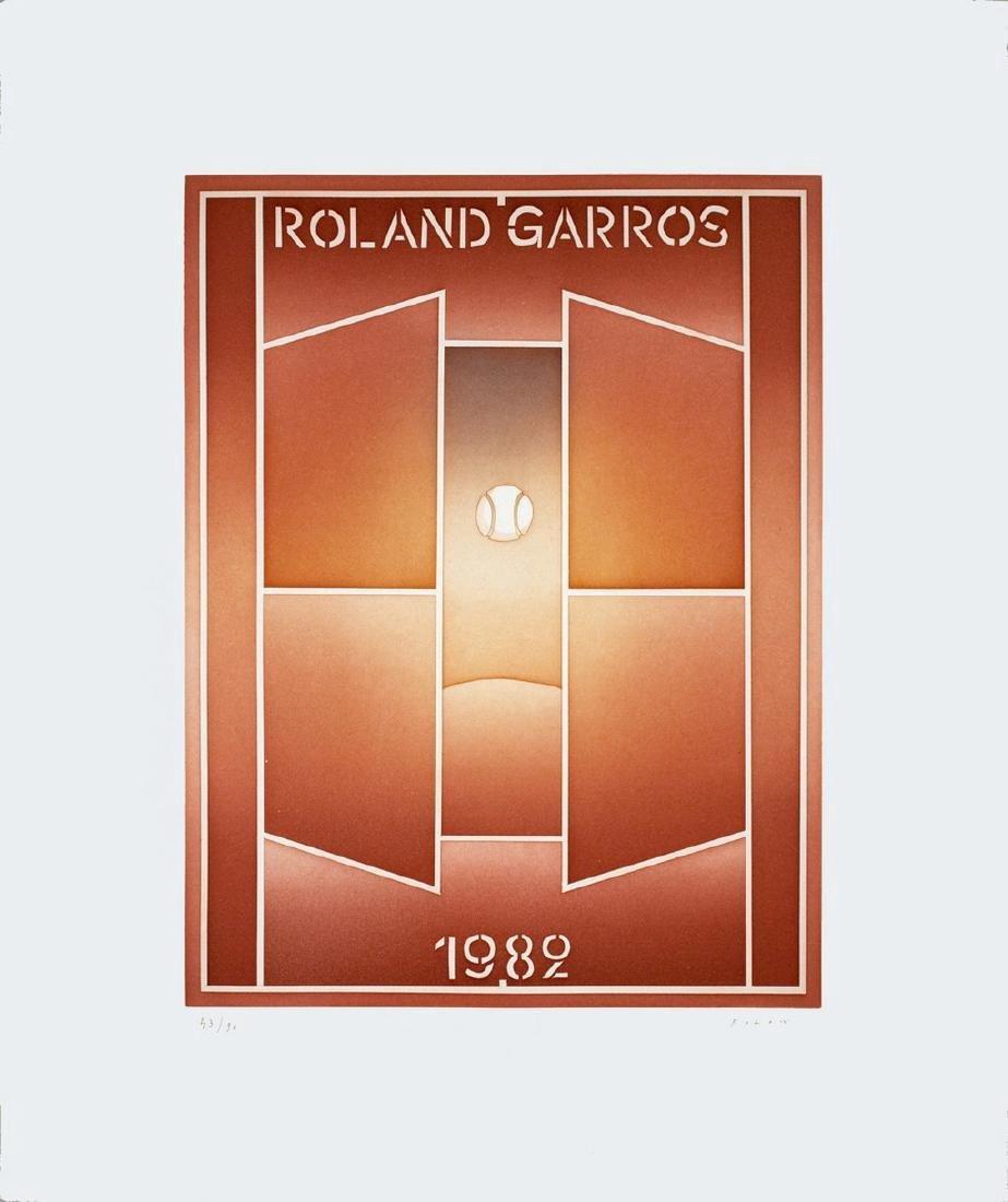 Jean-Michel Folon Signed Etching Roland Garros