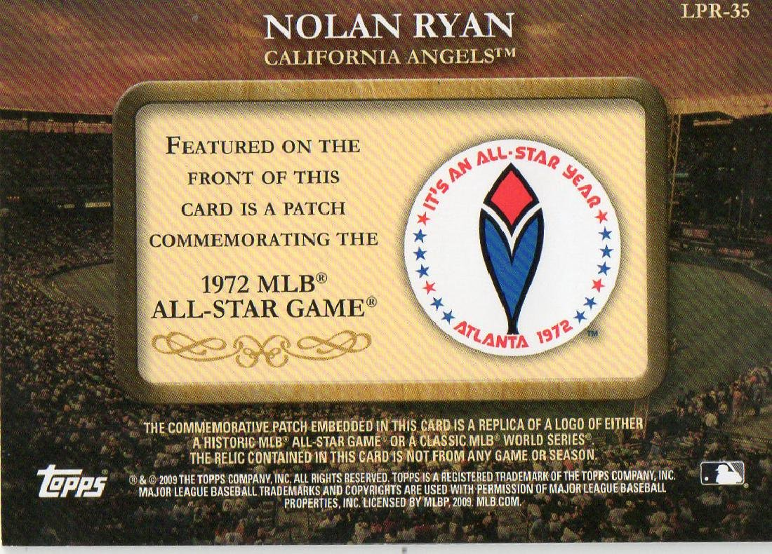 2009 Topps Legends Commemorative Patch Nolan Ryan 1972 - 2