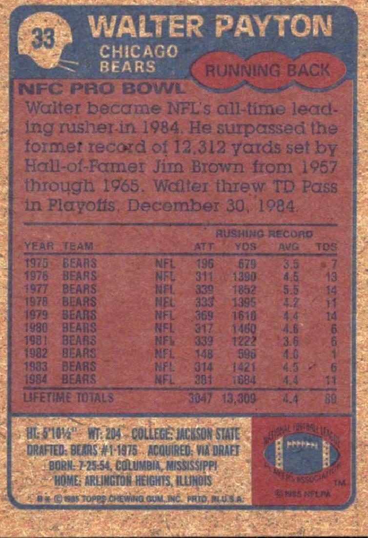 1985 Topps Walter Payton Chicago Bears Football Card - 2