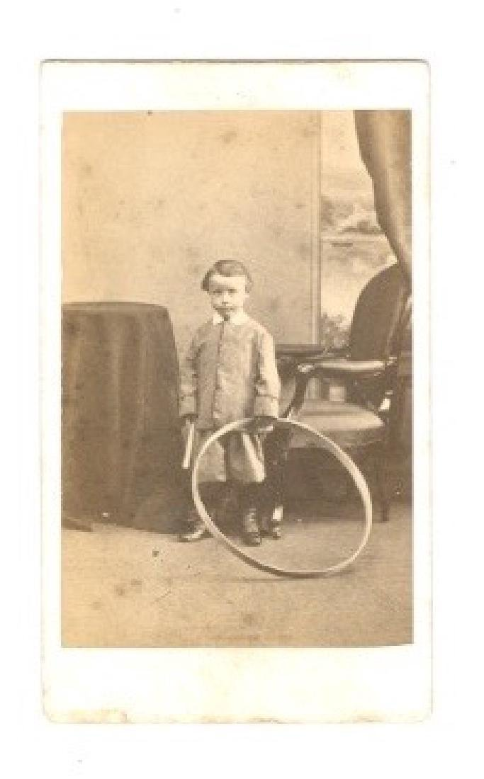 H. Thomson Carte de Visite of Young Boy with Hoop 1860s