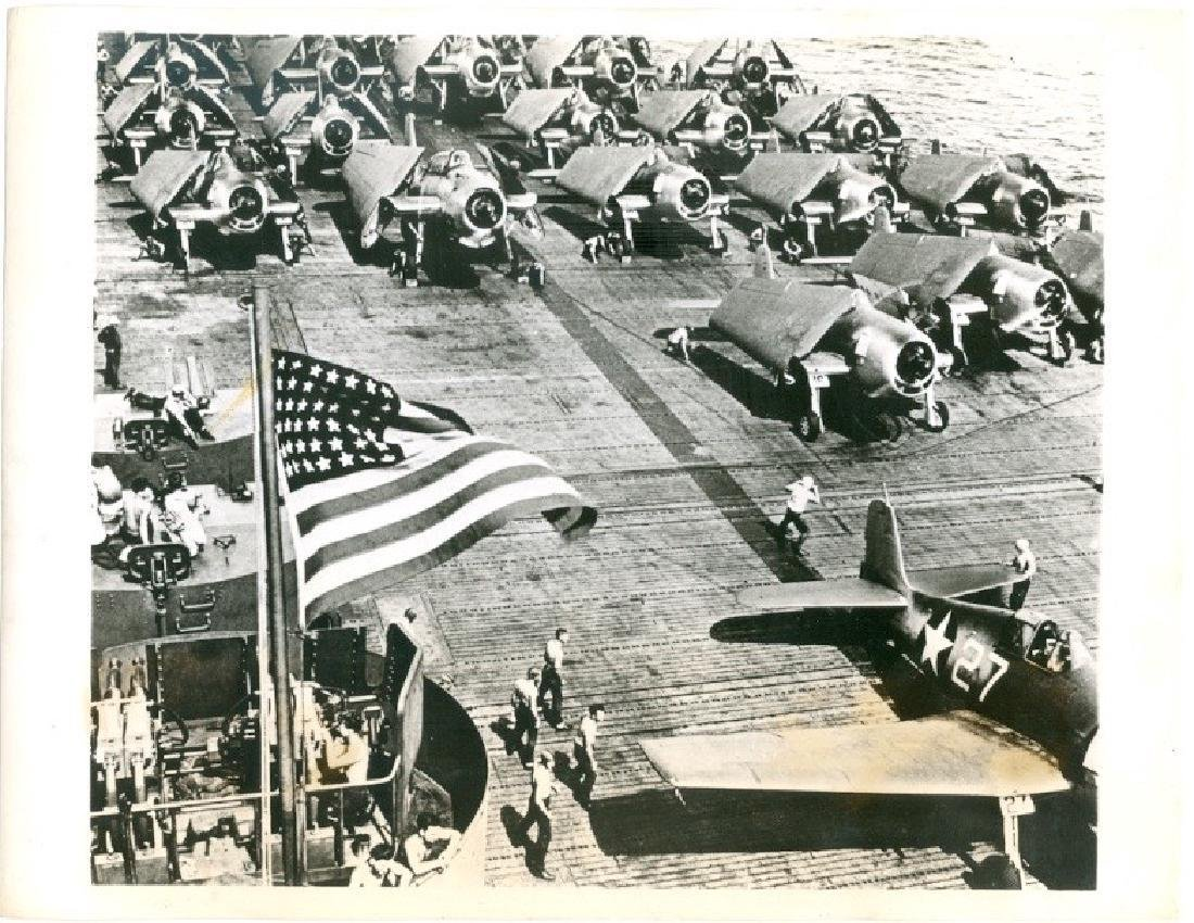 Corsairs F4U on Deck of Airplane Carrier Photograph