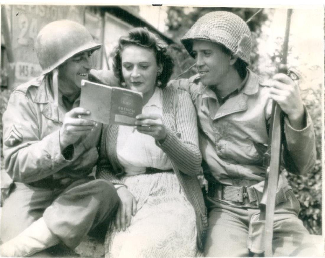 Two GI's and a French Girl One Month After D-Day Photo