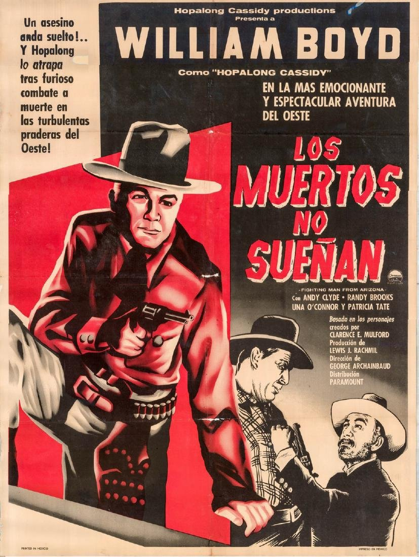 Dead Don't Dream 1950s Hopalong Cassidy Mexican Poster