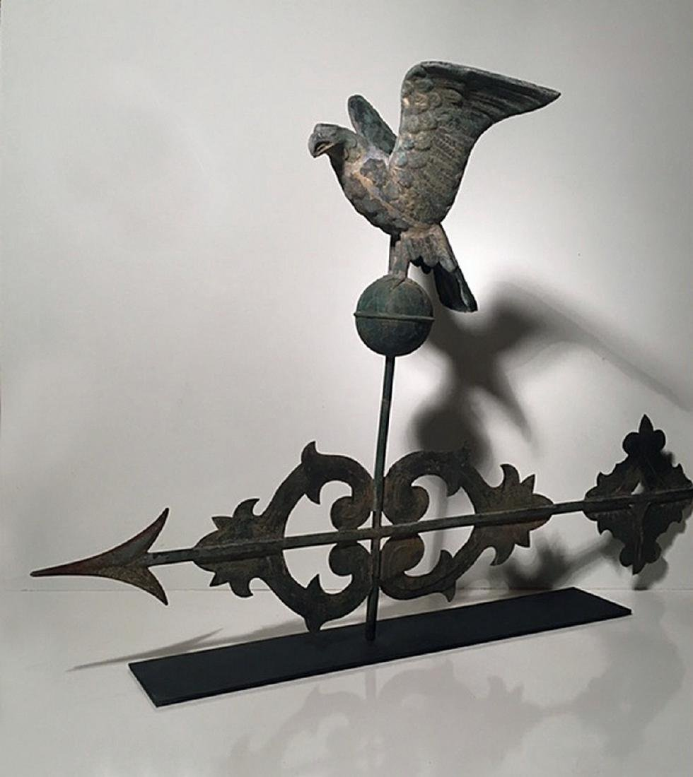 Scroll Weathervane With Rare Eagle Finial C 1900