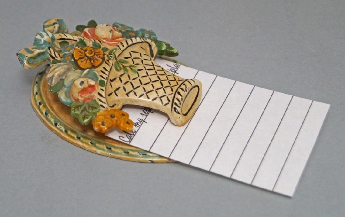 Antique Flowers in Basket Note Clip Paperweight - 2