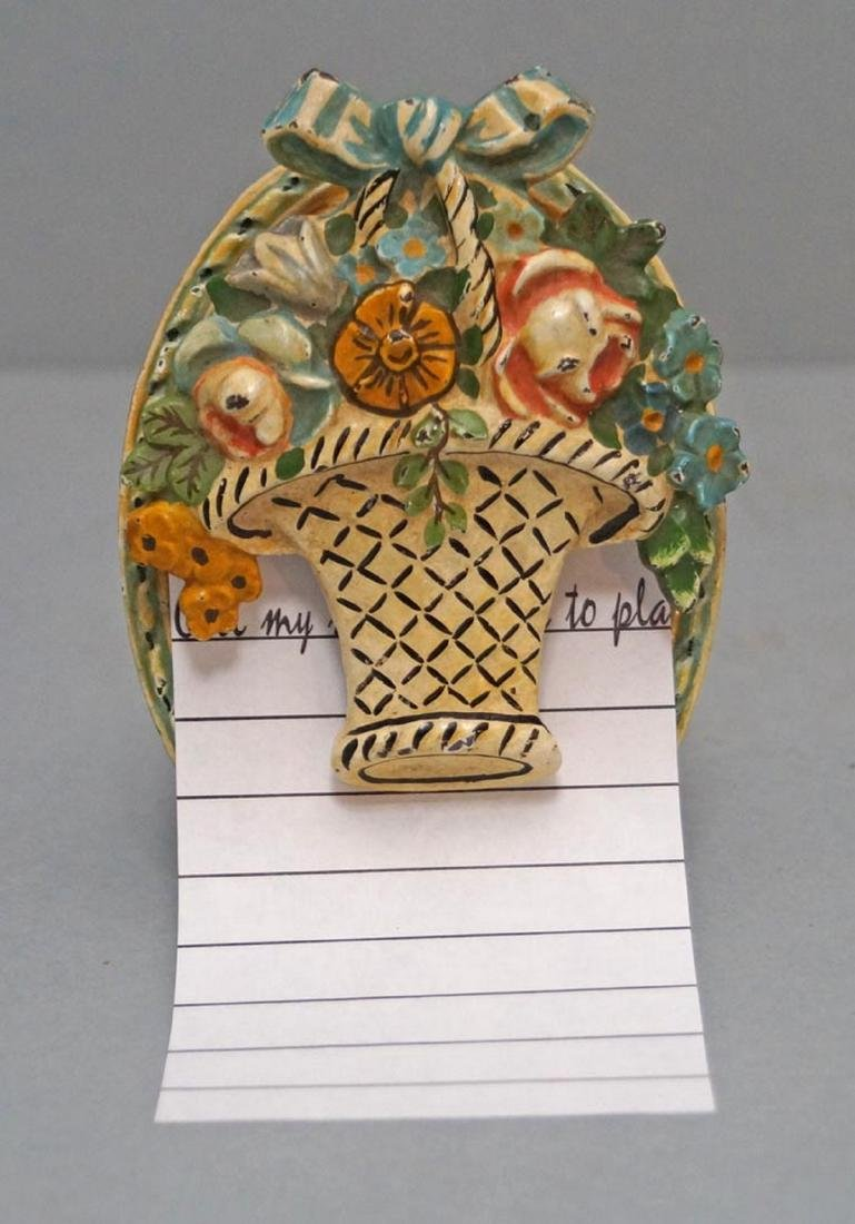 Antique Flowers in Basket Note Clip Paperweight - 3