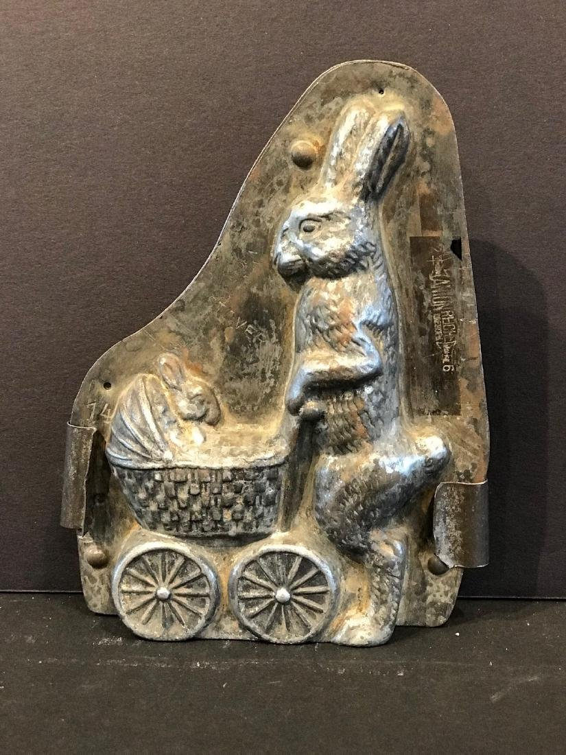 Rabbit Pushing a Bunny in Baby Carriage Chocolate Mold - 3