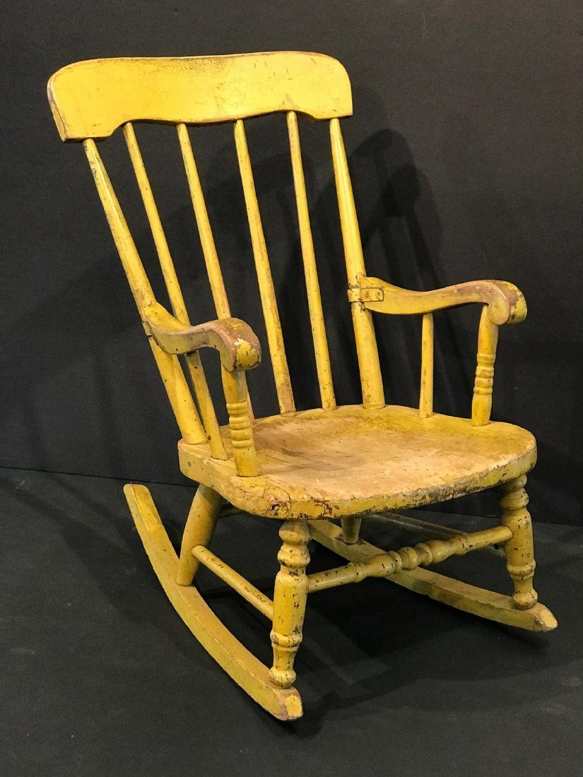 Child's Rocker in Early Yellow, Late 19th Century