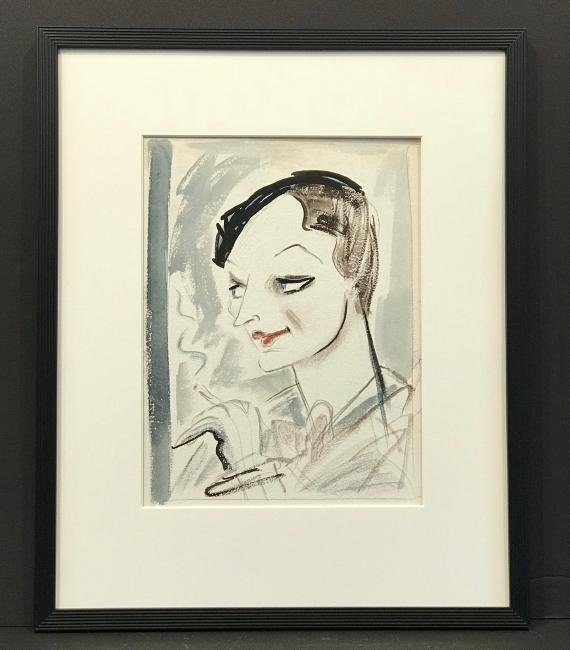 Original New Yorker Cartoon Portrait of Dorothy Parker