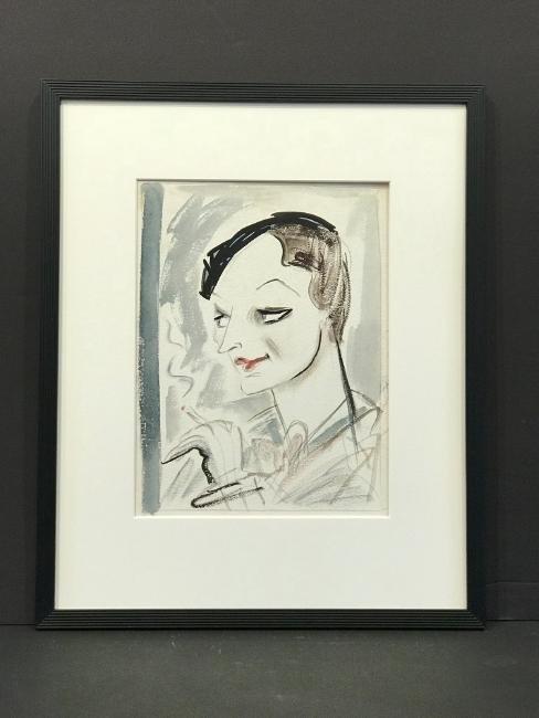 Original New Yorker Cartoon Portrait of Dorothy Parker - 2