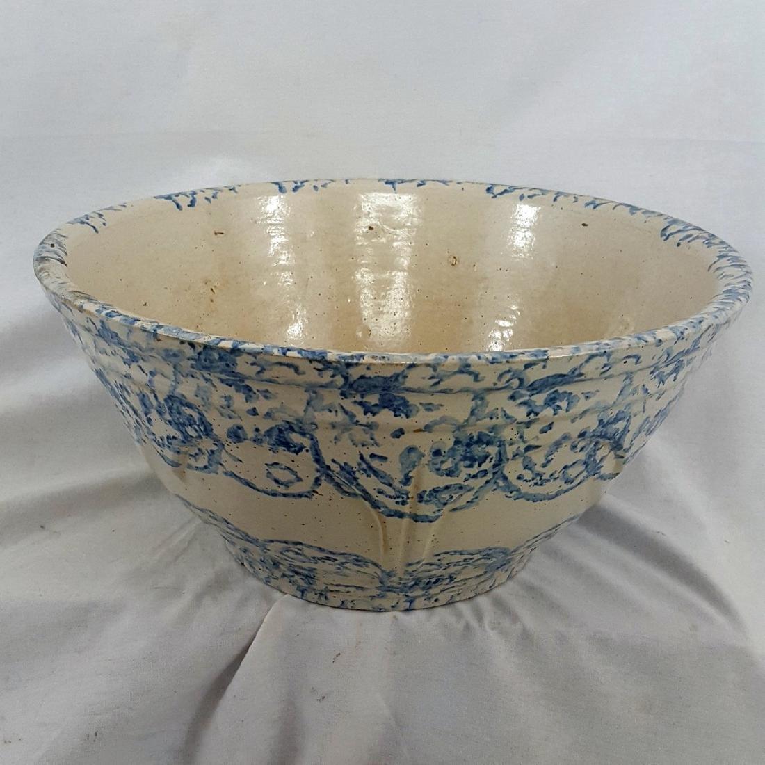 Very Large Blue Spongeware Bowl Ca 1880-1900