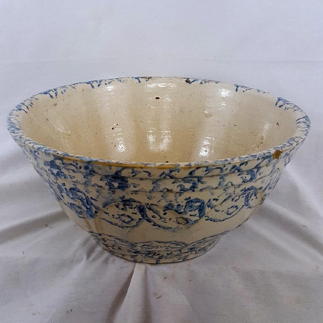 Very Large Blue Spongeware Bowl Ca 1880-1900 - 2