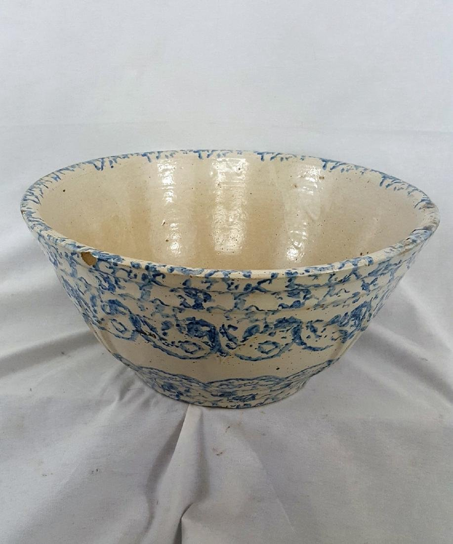 Very Large Blue Spongeware Bowl Ca 1880-1900 - 4